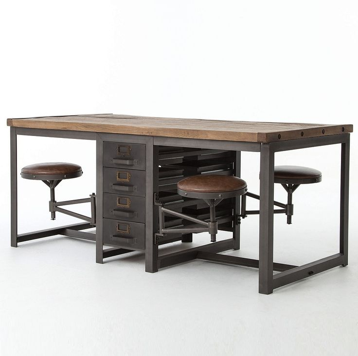 Industrial Style And Modern Functionality Are Reflected In Our Rupert Architect Work Table Desk