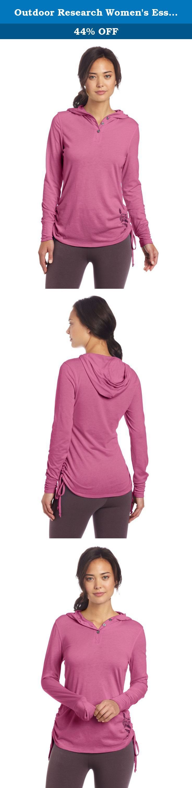 Outdoor Research Women's Essence Hooded Henley Top, Crocus, Medium. Light, soft and quick to dry, he Essence Hooded Henley provides technical performance in a relaxed, feminine silhouette. A wrist pocket holds essentials for an afternoon out or an after work stroll along the creek, and an abstract flower graphic adds a touch of style.