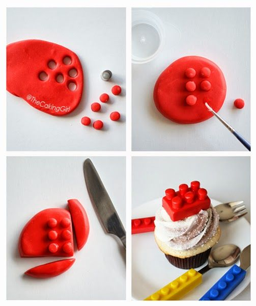 How to make Legos from fondant-TheCakingGirl (She has lots of other great cake/cupcake ideas on her website)