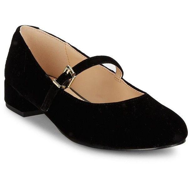 Imnyc Isaac Mizrahi Monique Velvet Mary Jane Flats ($40) ❤ liked on Polyvore featuring shoes, flats, black, black shoes, black flat shoes, velvet flats, black mary jane shoes and round toe flats