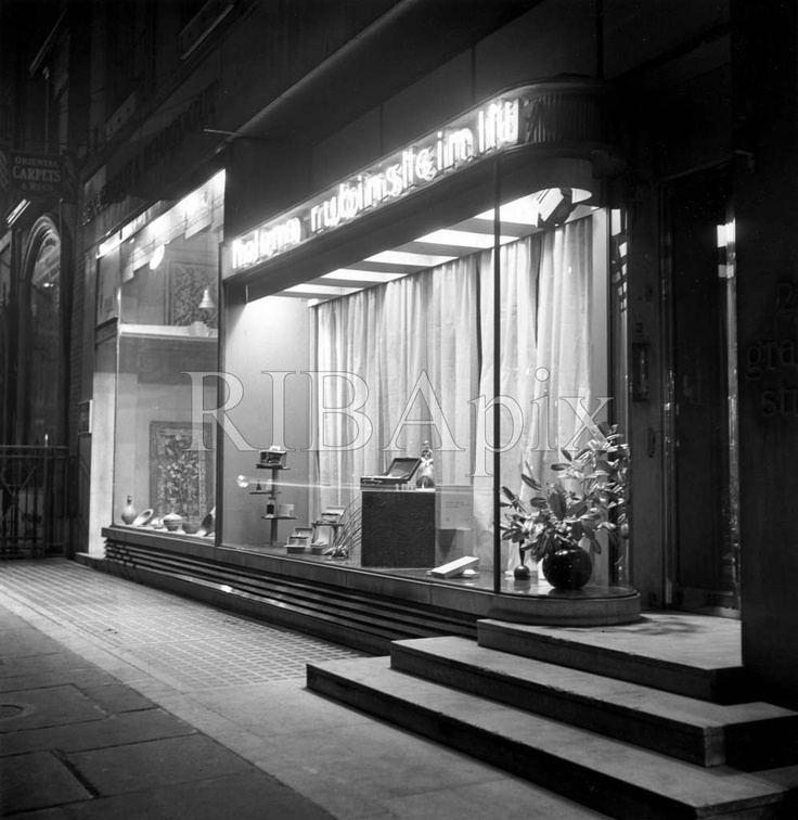 Night view of Helena Rubinstein salon, 26 Grafton Street, Mayfair, London, 1936…