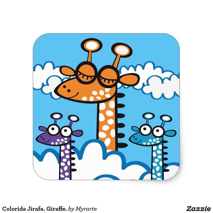 Colorida Jirafa. Giraffe. Producto disponible en tienda Zazzle. Product available in Zazzle store. Regalos, Gifts. Link to product: http://www.zazzle.com/colorful_giraffe_giraffe_square_sticker-217795174375529666?lang=es&CMPN=shareicon&social=true&rf=238167879144476949 #sticker #jirafa #giraffe