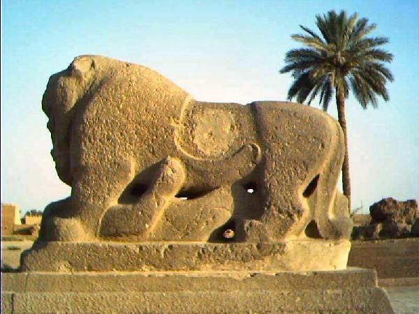 Lion of Babylon, predates Nebuchadnezzar. Rediscovered in Iraq in 1775.