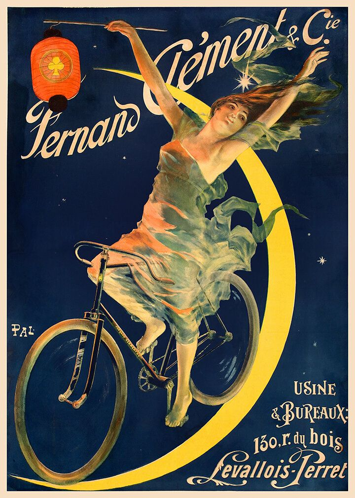 Vintage Cycling advertising poster reproduction. Cycles Clement