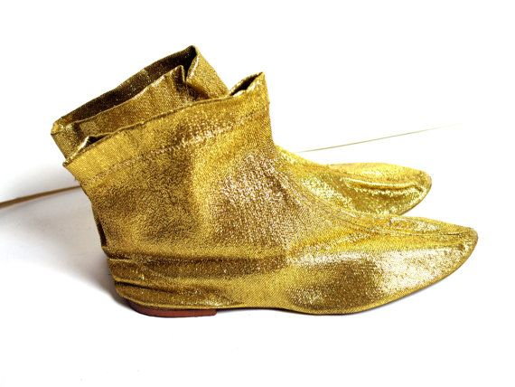 1960s-1970s Bertlyn Gold Metallic Gogo Booties by ragsfeathers, $22.00