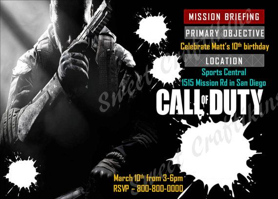 Call of duty black ops birthday invitations images coloring pages printable call of duty birthday invitations gallery invitation filmwisefo