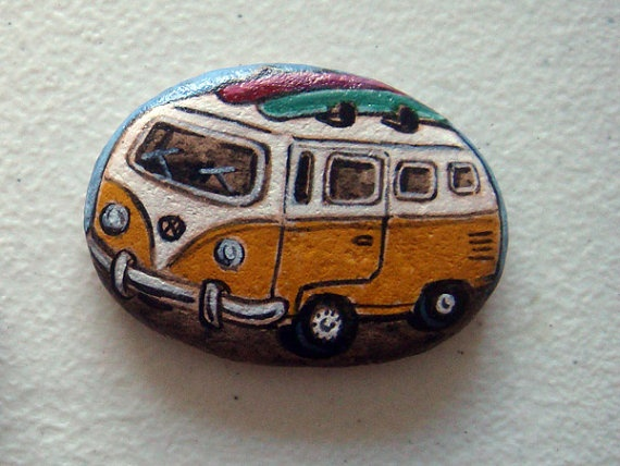 hand painted Mini bus VW, magnet via Etsy