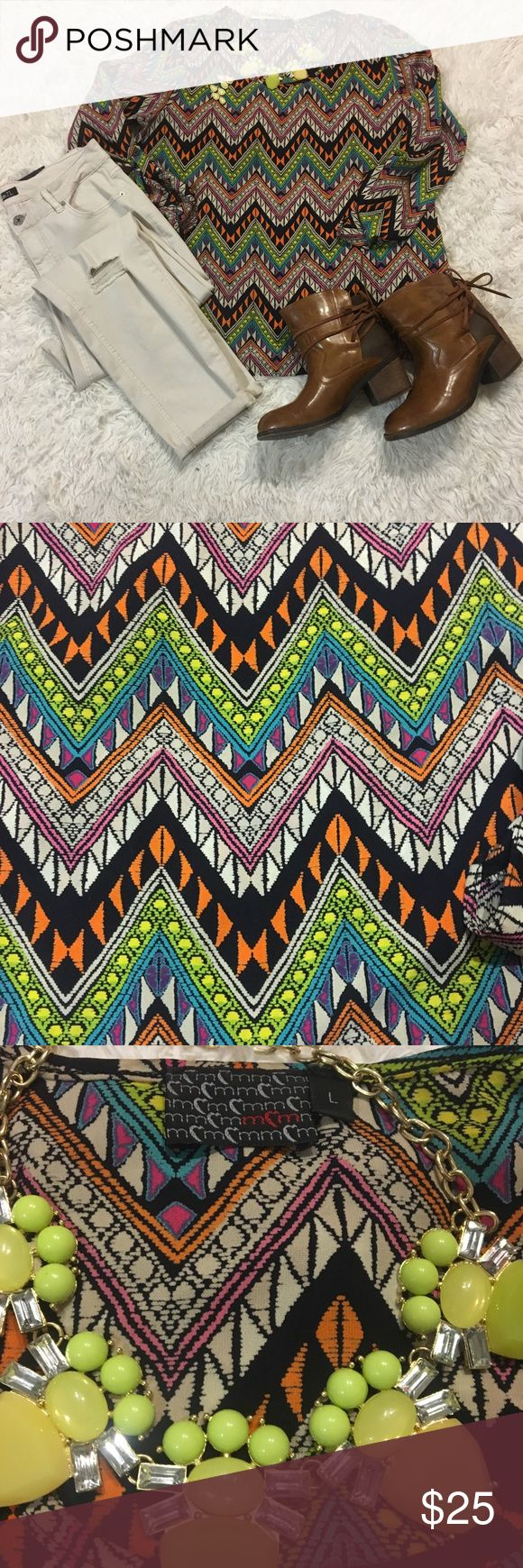 "Moa Moa Chevron Top Multi color chevron top with navy blue background is like NEW!  Measurements: Armpit- Armpit 21"" Back neckline to bottom hemline 26.5"" Goes great with a favorite pair of jeans, shorts, or skirt! Moa Moa Tops"
