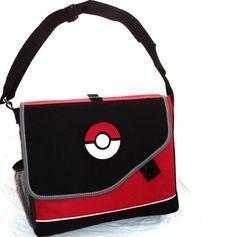 New Custom Messenger Bag Shoulder School Backpack Pokeball or Pikachu Pokemon Red costumefair Bag, video games, nintendo I want it
