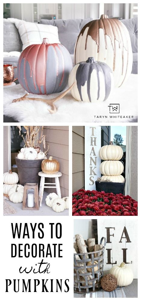 Click to view tons of different ways to decorate with pumpkins for fall! These white pumpkin displays will add an elegant touch of fall around your home!
