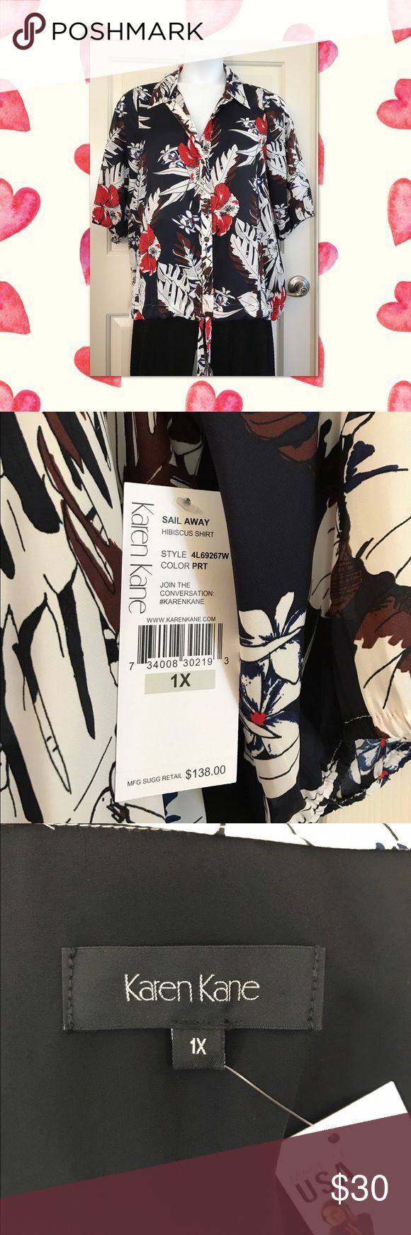 Semi-sheer Karen Kane Blouse 1X Tropical Print with tie at the bottom. Karen Kane Tops Blouses