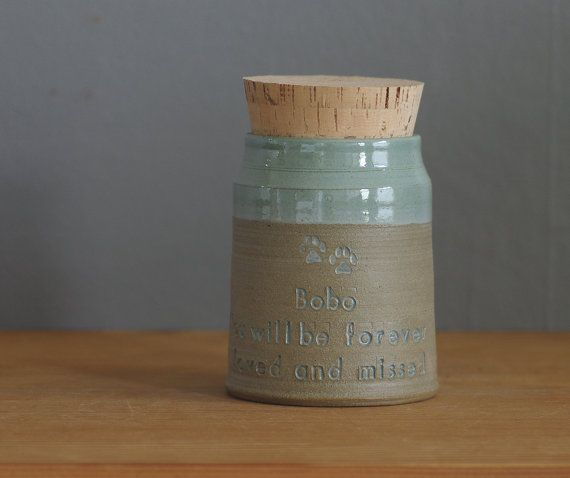small size listing - Collared shape pottery cremation urn with custom quote and custom color options. Custom pottery urn made just for you to hold pet (pet urn) or human ashes or use instead to hold special mementos or objects. Glazed only at top above the top line of text. Hand impressed lettering writing a quote of your selection on the front side and a name and/or dates on back side. Cork will be custom fitted to opening, but please secure urn cork stopper with glue (such as gorilla glue…