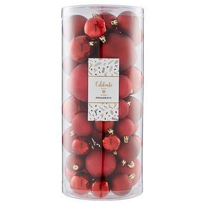 Decorate your tree with our pack of 48 assorted size baubles in red, including shiny, matt and glitter, perfect for hanging on the tree this season!48...