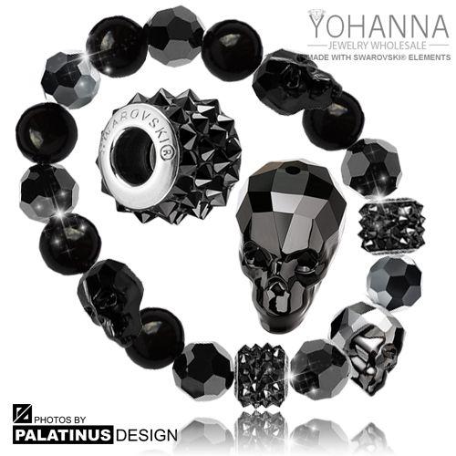 Exclusive Swarovski bracelet, genuine Swarovski crystals, Yohanna Jewelry Wholesale SWAROVSKI ® ELEMENTS crystals:  Round Crystal Beads -5000: JET  -5810 Crystal Pearl Mystic Black  -80901 Paves Spikes BeCharmed Jet (SWAROVSKI en