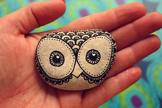 Hand Painted Rock Owl v