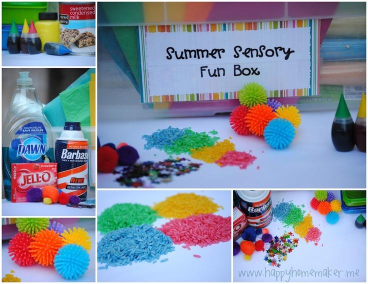 summer sensory fun box and activites