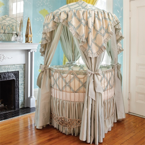 Addison Floral Round Iron Canopy Crib in Choice of Finish from PoshTots