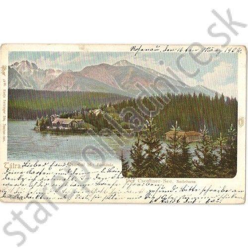 Pohľadnica Štrbské pleso, Csorbai tó. Vysoké Tatry. 1b Feitzinger - Pohľadnice