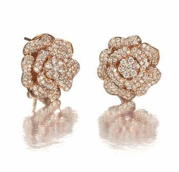 Pink Rose Diamond Earrings in 14k Gold