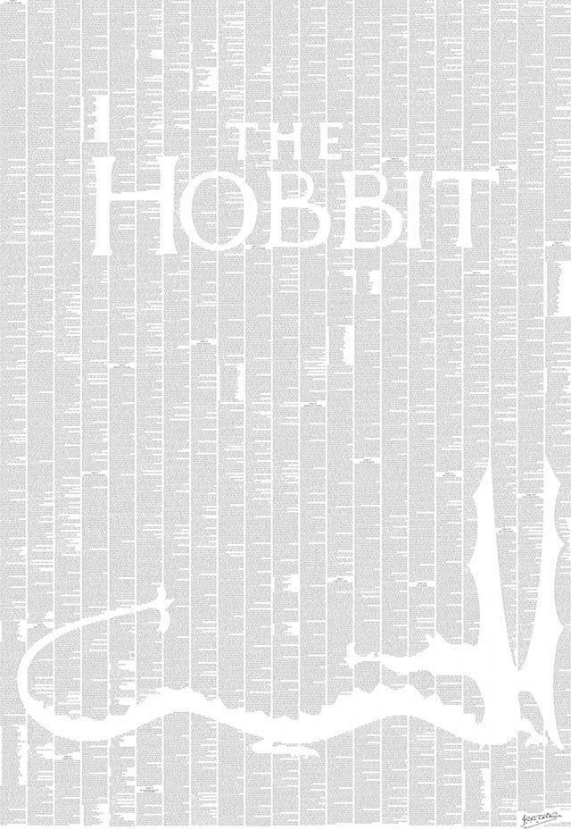 """The entire text of The Hobbit as a poster. To decorate my future """"Beauty & the Beast-sized"""" library."""