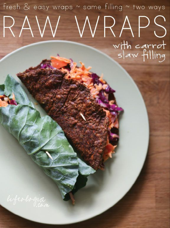 VEGAN/ RAW CARROT-SLAW FILLING FOR ORGANIC RAW WRAPS AND COLLARD WRAPS