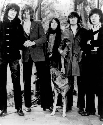 Ronnie Wood, Rod Stewart, Ian McLagan, Ronnie Lane, Kenney Jones from rock group The Faces 1971