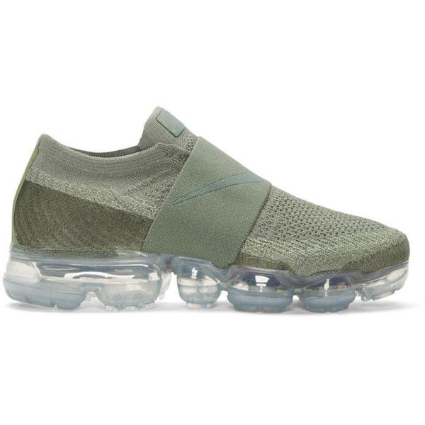 Nike Grey VaporMax Flyknit MOC Sneakers ($215) ❤ liked on Polyvore featuring shoes, sneakers, grey, nike sneakers, round toe sneakers, see-through shoes, round cap and low profile sneakers