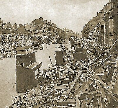 Liverpool - Bomb damaged street with a piano rescued in Bootle