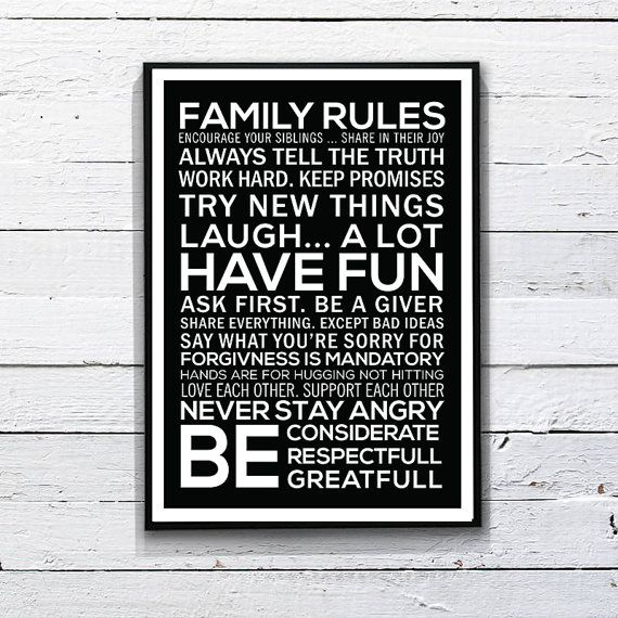 #family #tyography #printposter #walldecor Hey, I found this really awesome Etsy listing at https://www.etsy.com/listing/179939907/family-rules-poster-printable-art-11-x