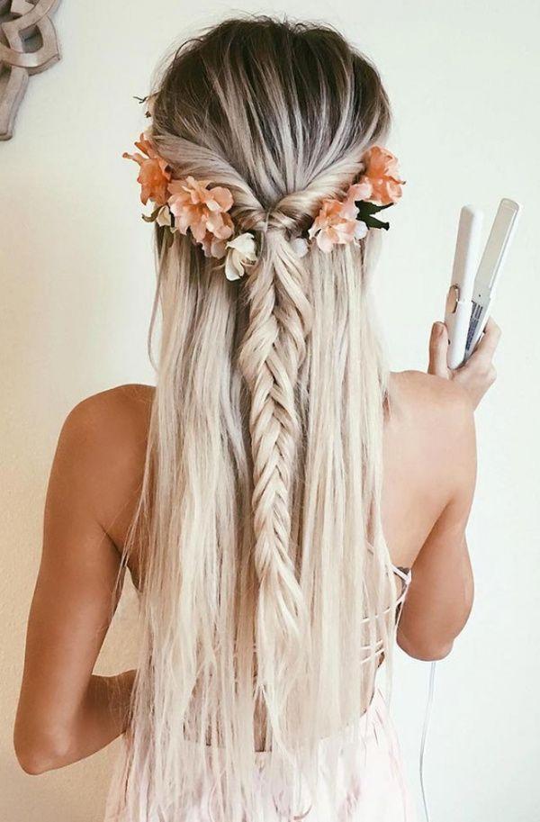 luxury blond hair wearing flowers