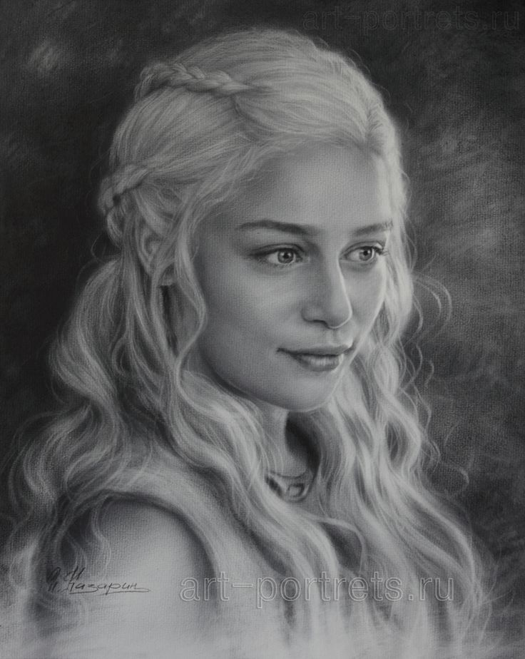 Portrait drawing of Emilia Clarke by Dry Brush by Drawing-Portraits on DeviantArt