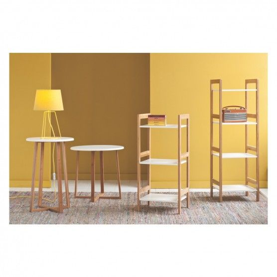 DREW Bamboo and white lacquer tall side table   Buy now at Habitat UK