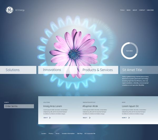 GE Energy Redesign  Interface design concepts for GE's global energy group.   MG developed a spread of different directions to push GE's global energy group brand. The directions presented were all centered around a highly engaging user experience. MG channeled a variety of approaches for imagery including illustration, information graphics, 3d renderings, and animation.