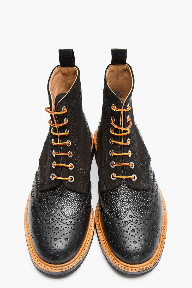 Black Leather and Shagrin Lace Up Wingtip Boots. Men's Fall Winter Fashion.