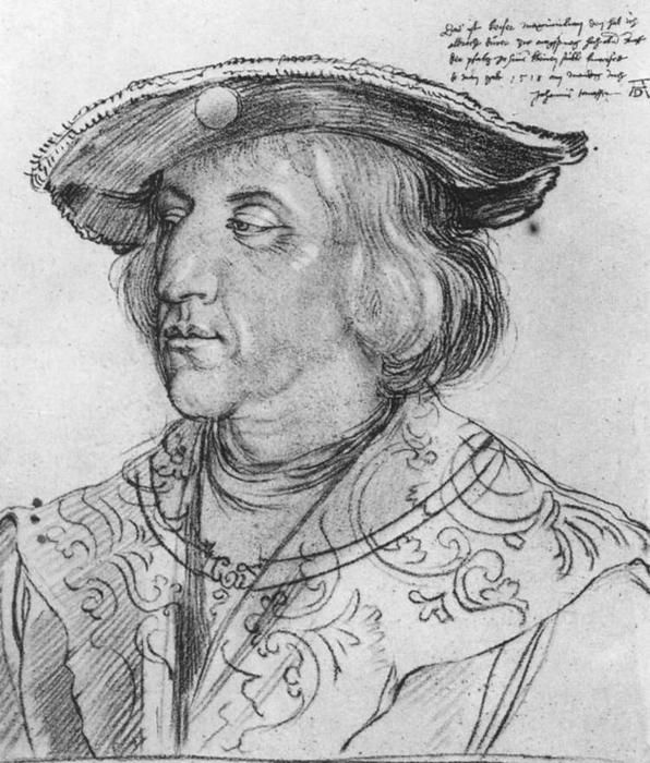 Portrait of Maximilian I, Charcoal by Albrecht Durer (1471-1528, Germany)