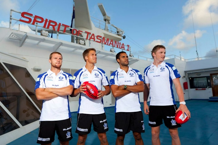 North Melbourne Kangaroo AFL footy players on board Spirit of Tasmania