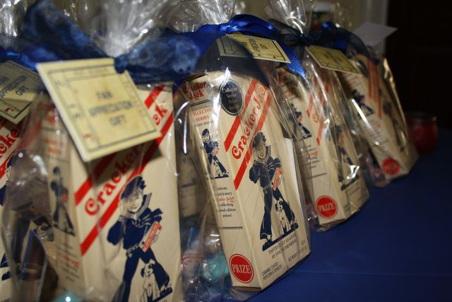 Cracker Jack Party Favors at a Sports themed baby shower #babyshower #crackerjack