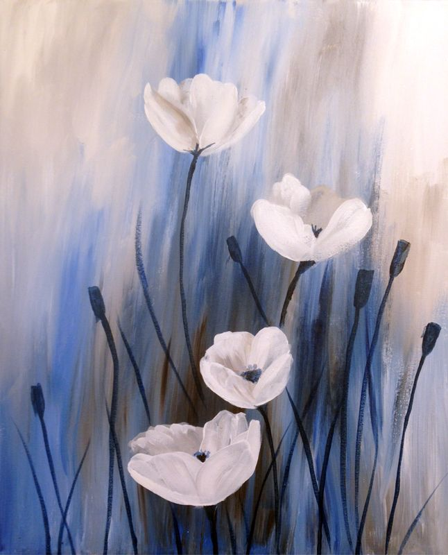 White Poppies | Creatively Uncorked | Lots of simple paintings here that they teach you how to do at painting parties.
