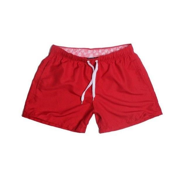 Visnxgi Men Summer Casual Shorts Men Fit Solid 16 Color Available Shorts Loose Elastic Waist Breathable Beach Shorts Q196 Red M