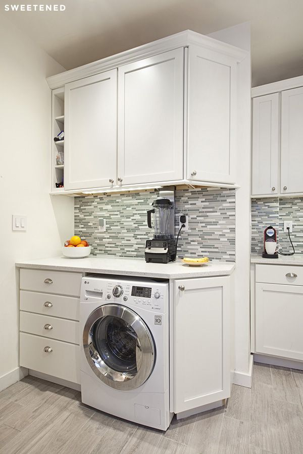 Upper West Side Kitchen's centerpiece is a washing machine from LG - smart and efficient use of the space!