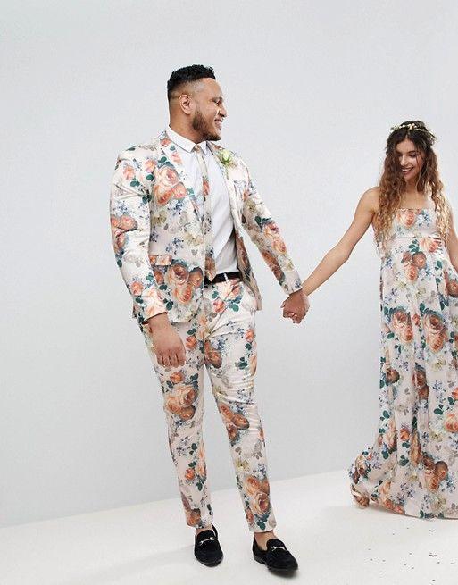 28b0c3afcbcf3e ASOS | ASOS PLUS Wedding Super Skinny Suit Jacket In Champagne Floral