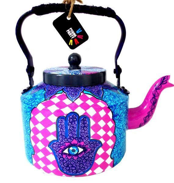 Banjaran Beauty-hand-painted teapot/kettle from India    Im Rithika Kumar an artist living in Mumbai,i run a niche art studio called Pyjama