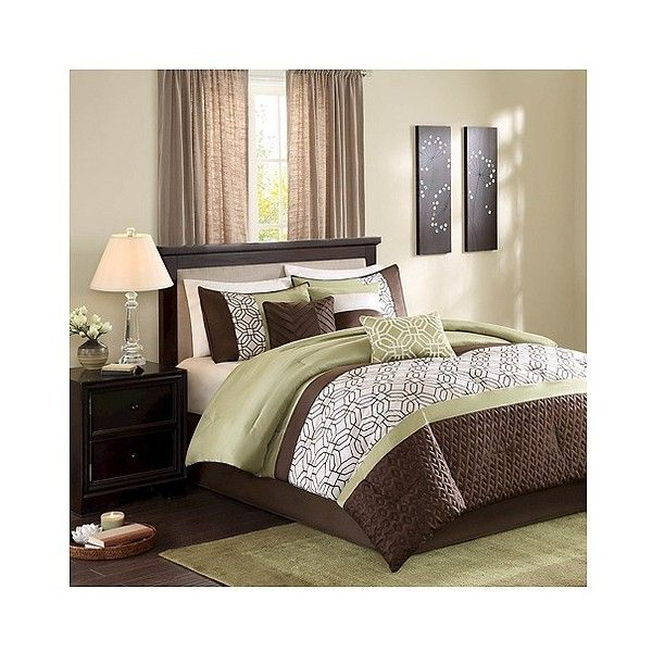 Arlan Geometric Comforter Set ($120) ❤ liked on Polyvore featuring home, bed & bath, bedding, comforters, green, geometric comforter set, geometric bedding, green bedding, green comforter and green comforter sets