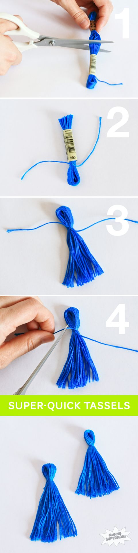 The Easiest Mini Tassels from Embroidery Floss -- Tutorial at PagingSupermom.com