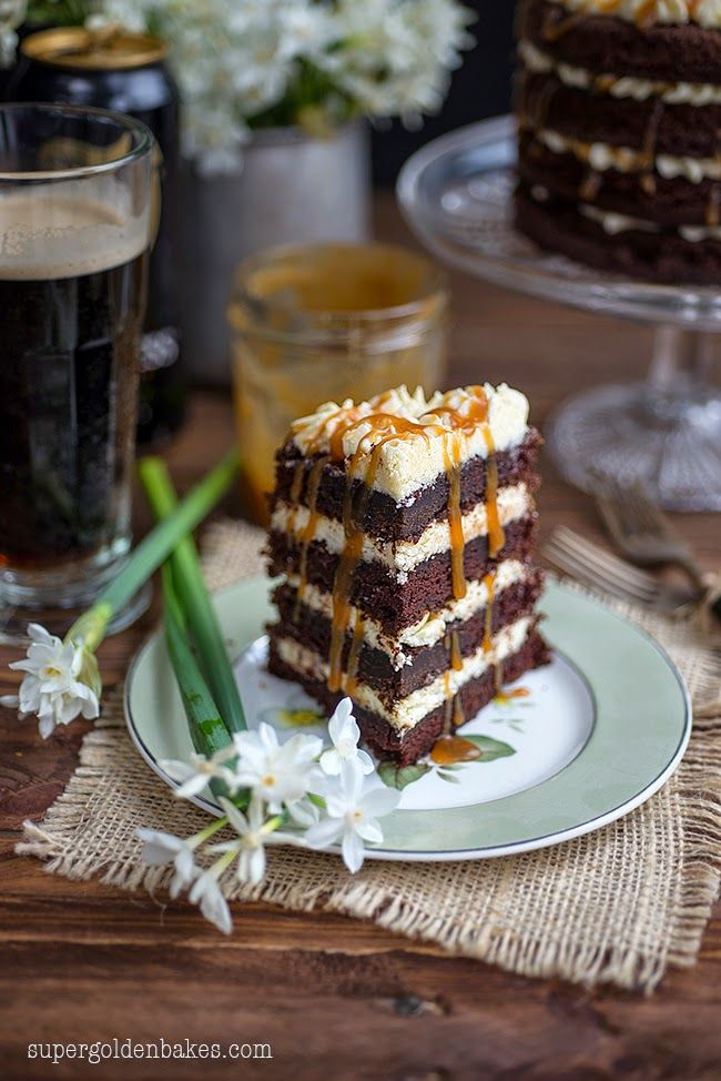 Guinness Black Magic Cake with caramel sauce and ermine frosting | Supergolden Bakes