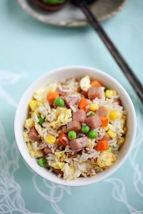 Spam Fried Rice: Great recipe to wipe up for the toddlers during Lunar New Years. Little cubes of spam, mixed vegetables, rice, and eggs often make a quick lunch for me. Spam fried rice is so easy to make, filling, and actually quite tasty.