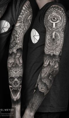 Mandala with skull full sleeve tattoo for men - Full sleeved mandala tattoo. The tattoo is composed with the iconic circular flowers as well as the popular skull symbols with the design of an eye seemingly looking over the entire detail.