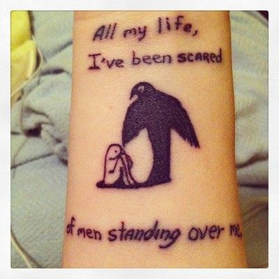 "My first tattoo: from The Book Thief by Markus Zusak. It says ""All my life I've been scared of men standing over me."" This is my favorite book and it really taught me how to look at the world differently. I picked this quote and image specifically because it comes right out of the book the character Max Vandenburg illustrates and writes. It's relevant for numerous reasons, and it's an homage to not only my struggles in life but also to a character's who had to hide away from the world he…"
