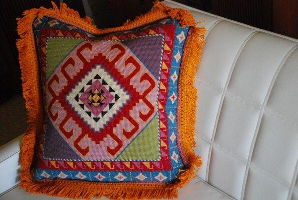 Needle point pillow aztec pattern