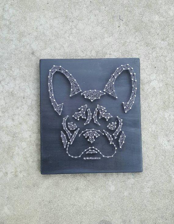 Arte da Corda do Buldogue Francês -  /    French Bulldog String Art -